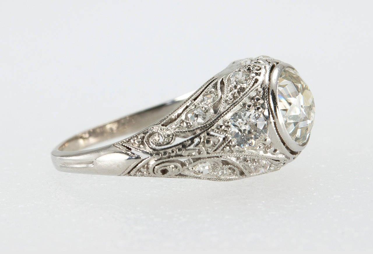 Edwardian Carat Old European Cut Diamond Platinum Engagement Ring For Sa