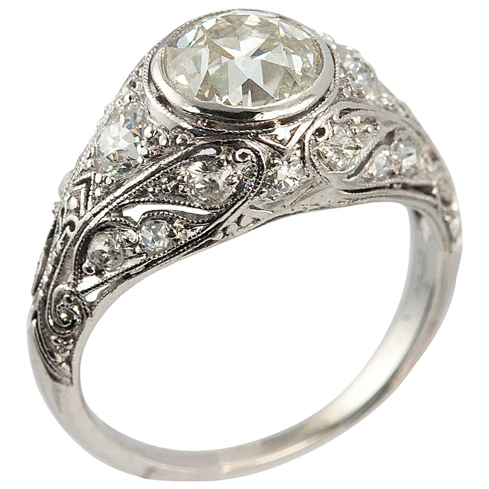Edwardian Engagement Rings For Sale: Edwardian 1.23 Carat Old European Cut Diamond Platinum