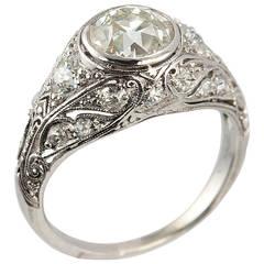 Edwardian 1.23 Carat Old European Cut Diamond Platinum Engagement Ring