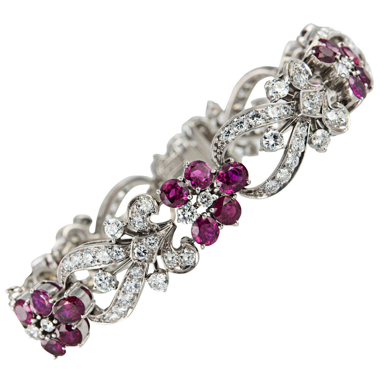1940s Tiffany & Co. Ruby Diamond Palladium Floral Bracelet For Sale