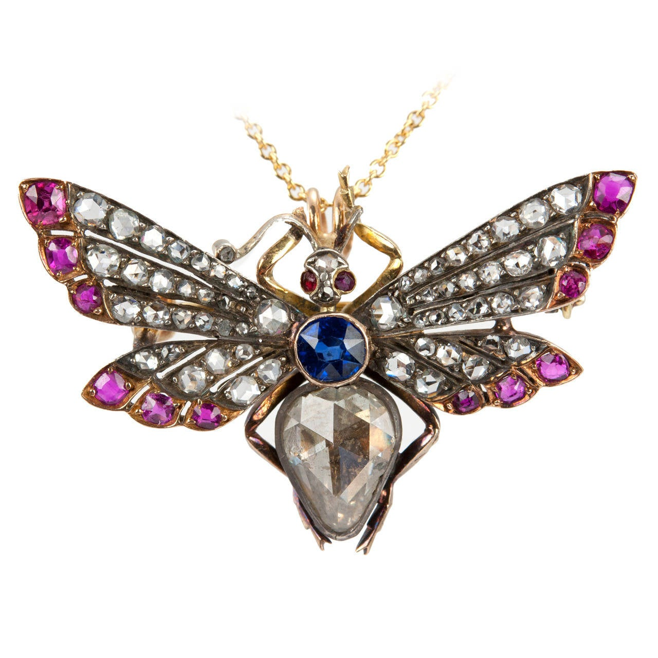 Victorian Ruby Sapphire Diamond Silver Gold Butterfly Necklace