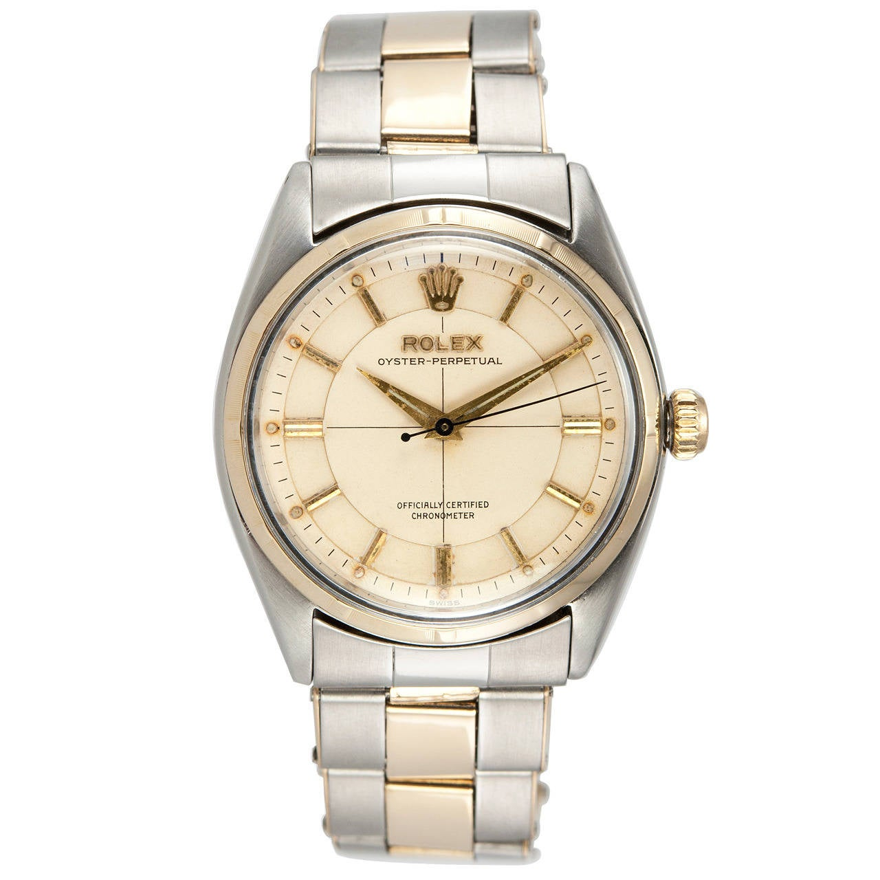 Rolex Yellow Gold Stainless Steel Oyster Perpetual Wristwatch Ref 6565