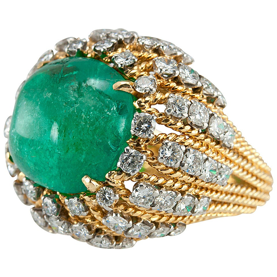 Natural Emerald Cabochon Diamond Gold Cocktail Ring