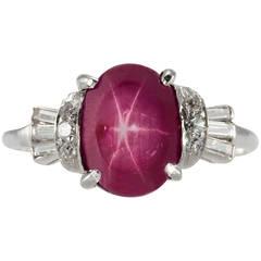 Art Deco Natural Burma Star Ruby Diamond Platinum Ring