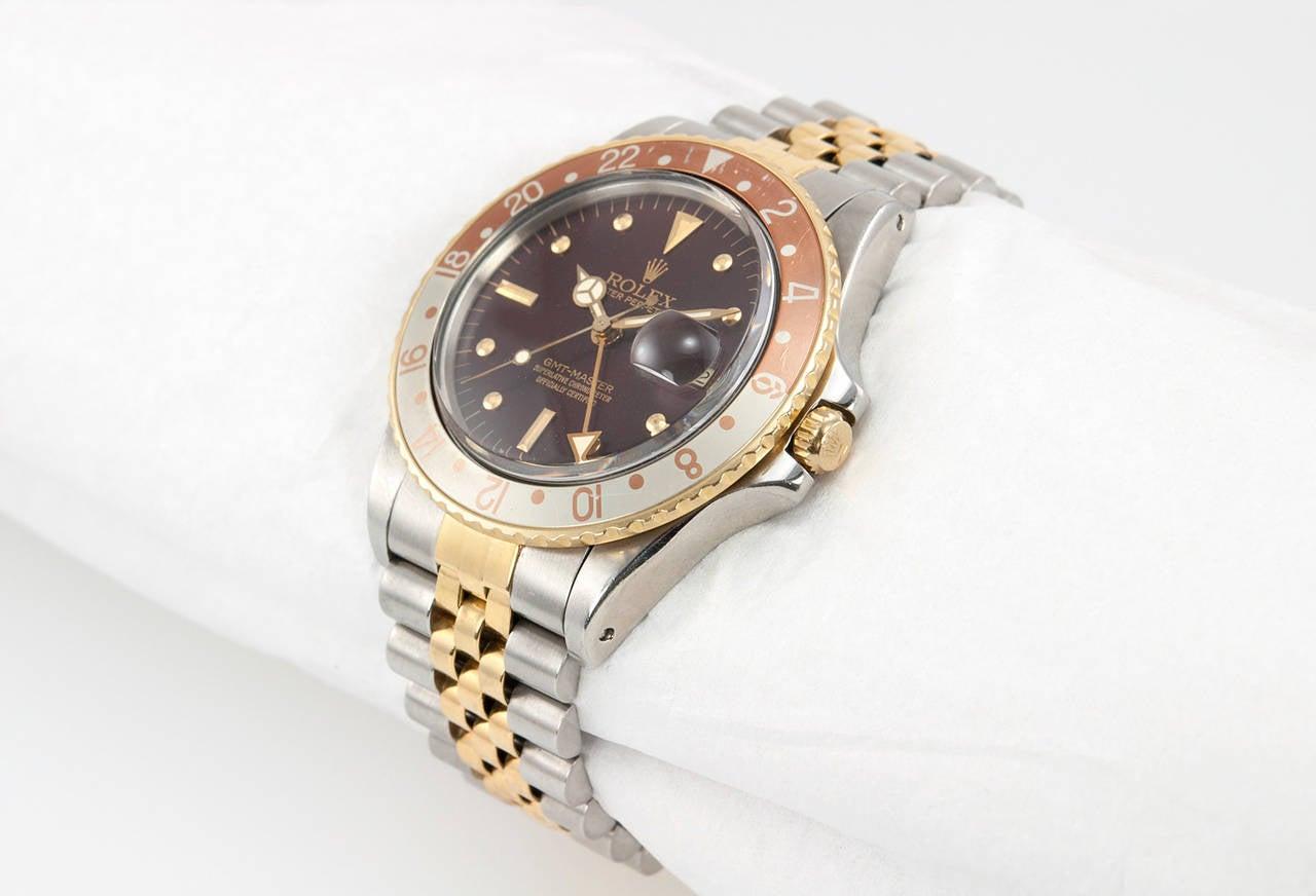 Rolex Yellow Gold Stainless Steel GMT Master Wristwatch Ref 16753 2