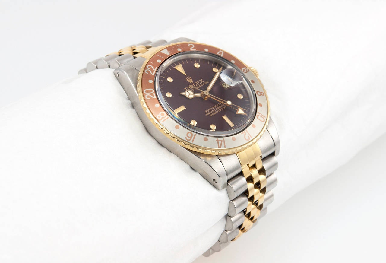 Rolex Yellow Gold Stainless Steel GMT Master Wristwatch Ref 16753 3