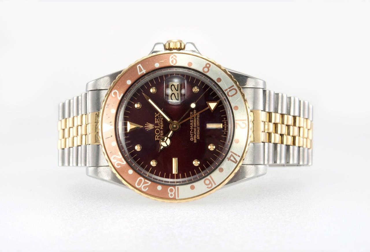 Rolex Yellow Gold Stainless Steel GMT Master Wristwatch Ref 16753 4