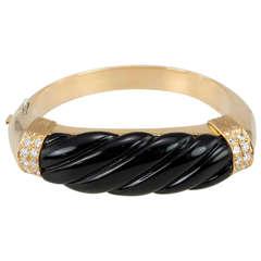 Nardi Gold Bangle with Onyx and Diamonds