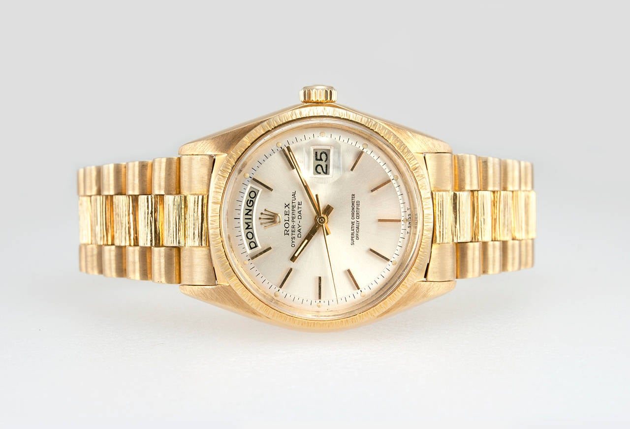 Women's or Men's Rolex Yellow Gold President Spanish Day Wheel Bark Finish Wristwatch Ref 1807 For Sale