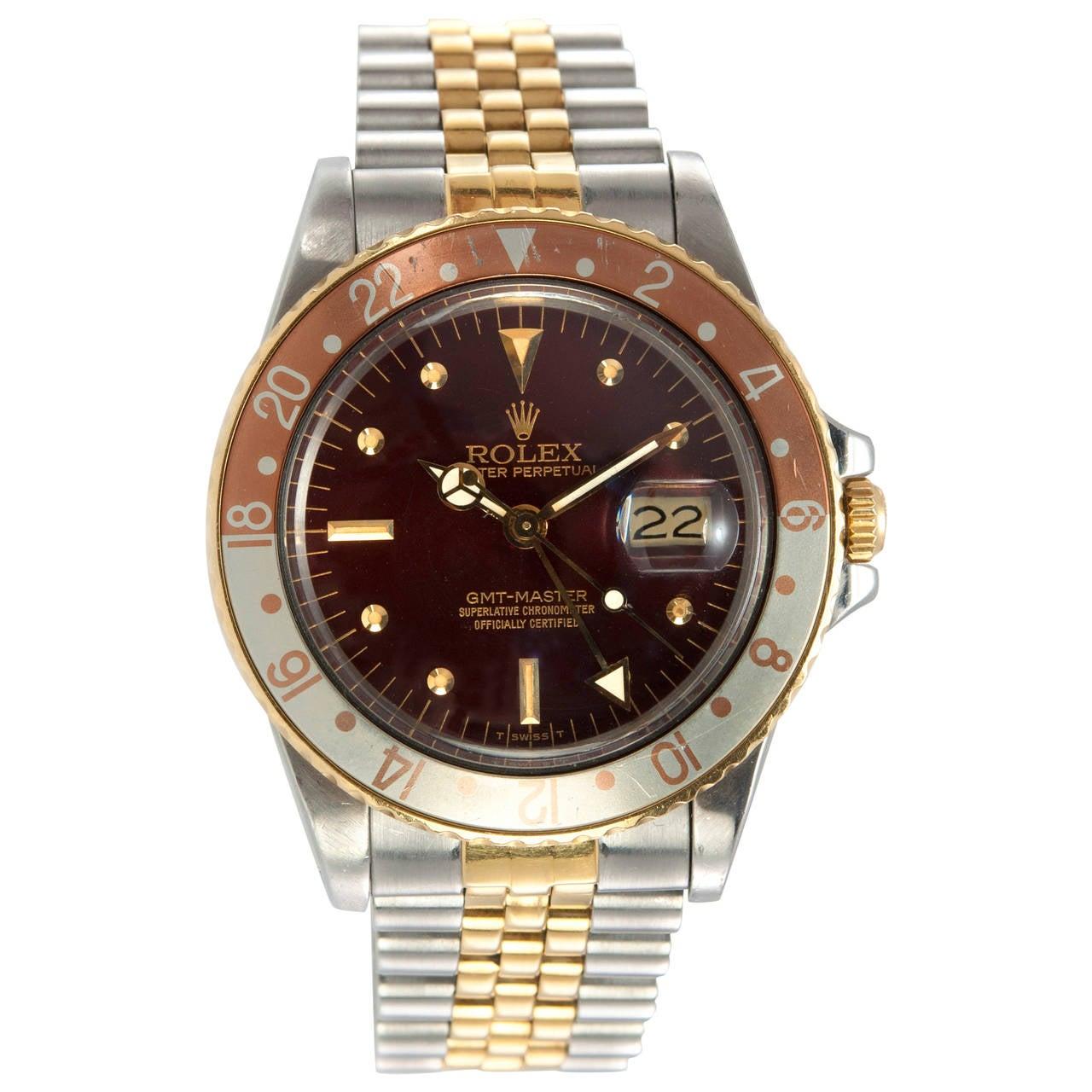 Rolex Yellow Gold Stainless Steel GMT Master Wristwatch Ref 16753 1