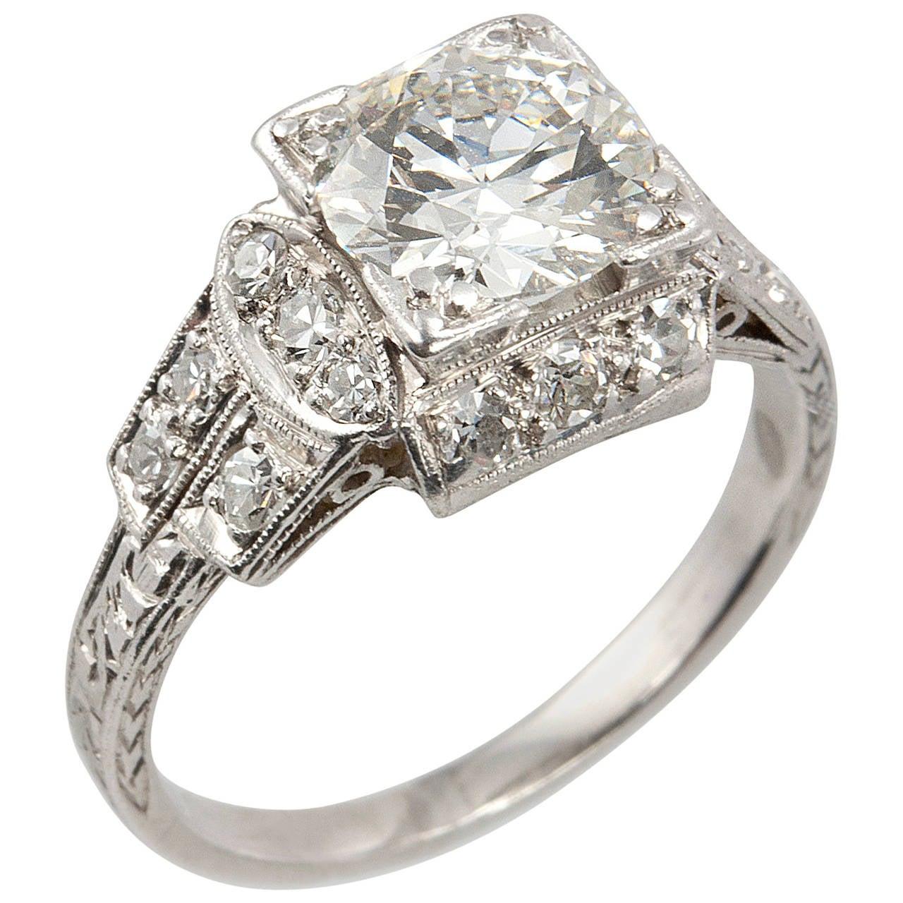 deco 1 42 carat platinum engagement ring at