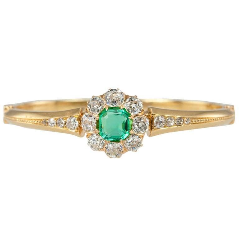 Victorian Emerald Diamond Cluster Bangle