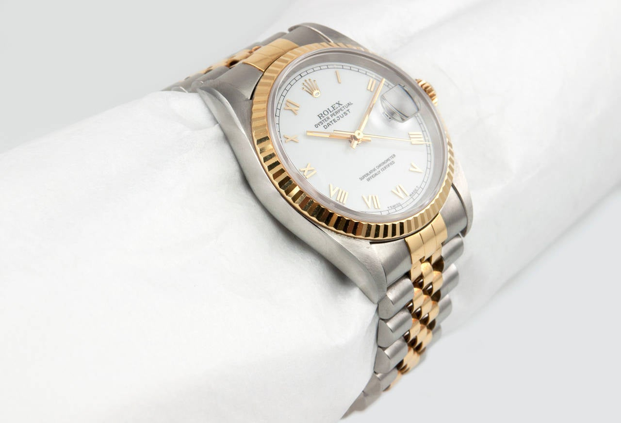 Rolex Yellow Gold Stainless Steel DateJust Wristwatch Ref 16233 3