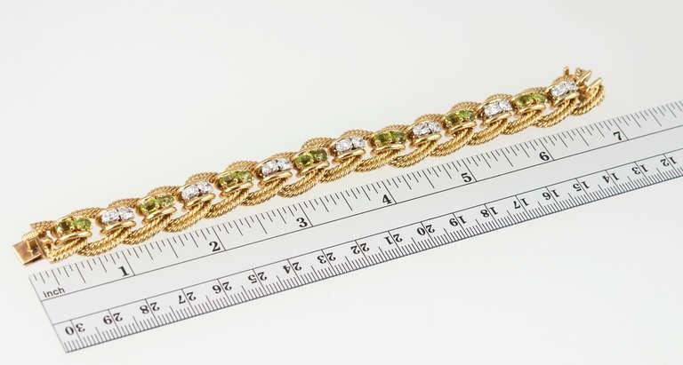 Peridot and Diamond Gold Link Bracelet 2