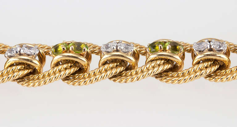 Peridot and Diamond Gold Link Bracelet 4