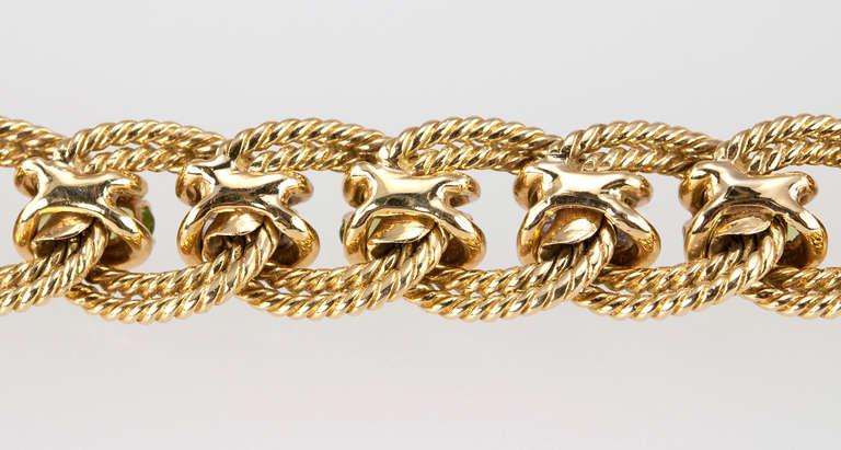 Peridot and Diamond Gold Link Bracelet 6