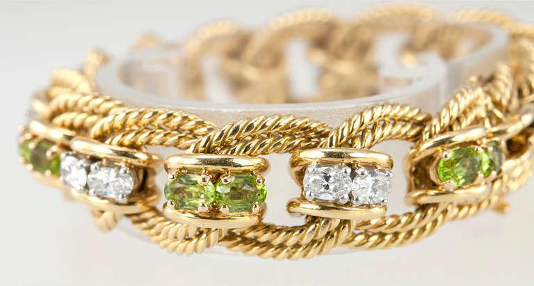 Peridot and Diamond Gold Link Bracelet 5
