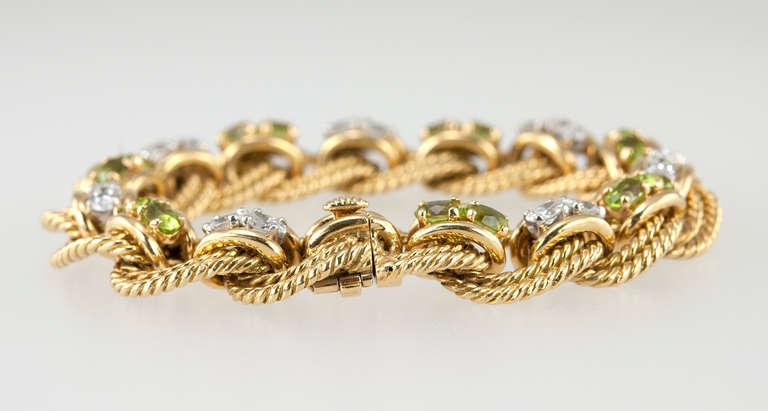 Peridot and Diamond Gold Link Bracelet 7