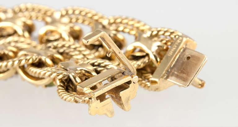 Peridot and Diamond Gold Link Bracelet 10