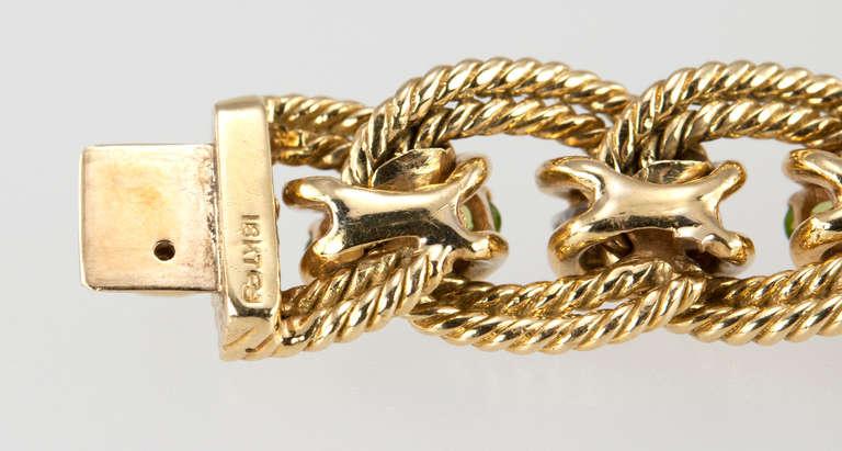 Peridot and Diamond Gold Link Bracelet 9