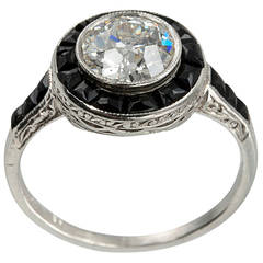 1.13 Carat Art Deco Diamond and Onyx Ring