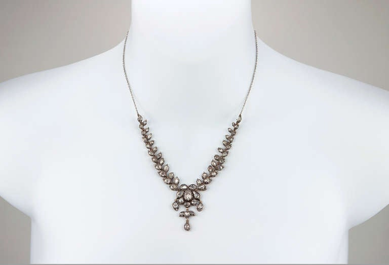Victorian Rose Cut Diamond Necklace In Excellent Condition For Sale In Los Angeles, CA
