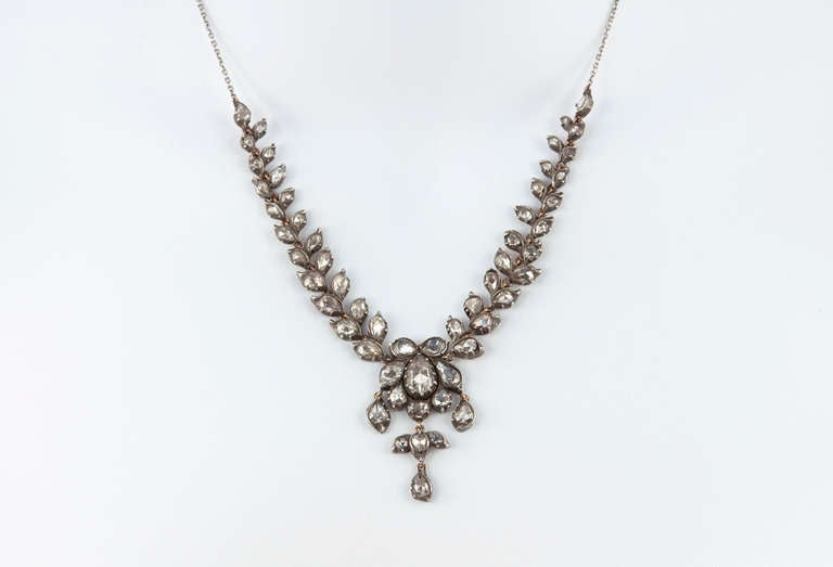 Victorian Rose Cut Diamond Necklace For Sale 5