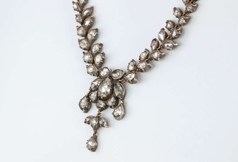 Victorian Rose Cut Diamond Necklace For Sale 1