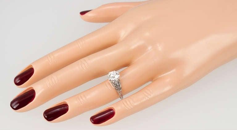 Old European Cut Edwardian 1.17 Carat Diamond Ring For Sale