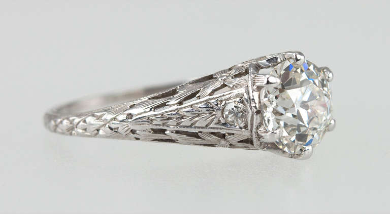 Edwardian 1.17 Carat Diamond Ring In Excellent Condition For Sale In Los Angeles, CA