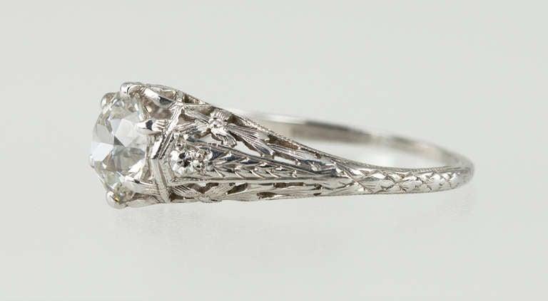 Edwardian 1.17 Carat Diamond Ring For Sale 1