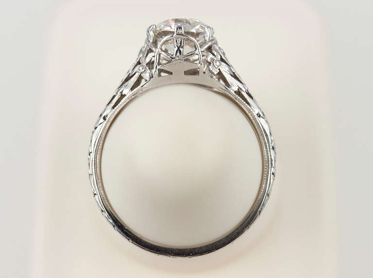 Edwardian 1.17 Carat Diamond Ring For Sale 4