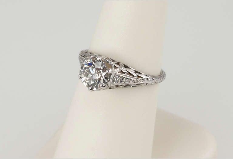 Edwardian 1.17 Carat Diamond Ring For Sale 3