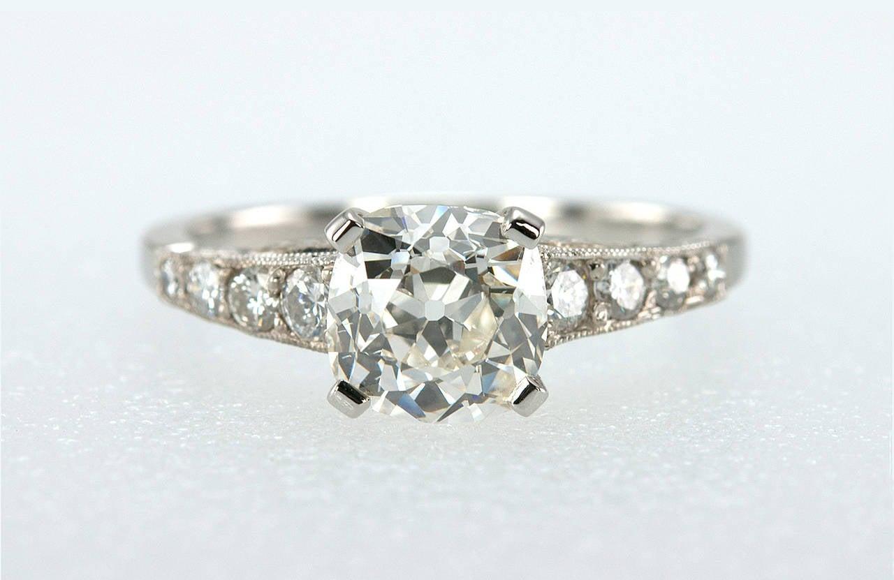 1 55 carat cushion cut and platinum engagement