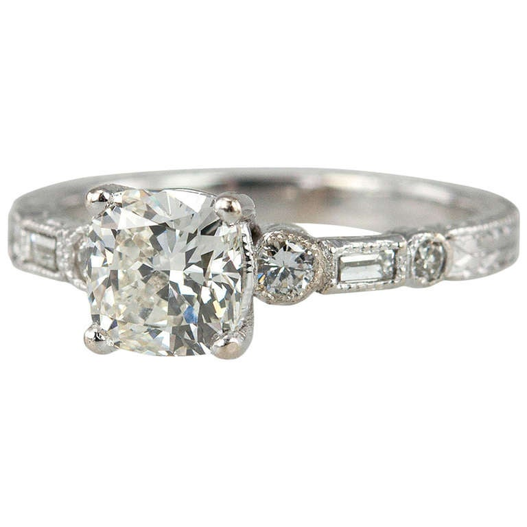 Engraved 1.11ct K-VS2 GIA Diamond Engagement Ring
