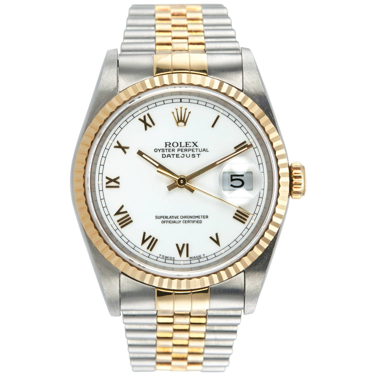 Rolex Yellow Gold Stainless Steel DateJust Wristwatch Ref 16233 1