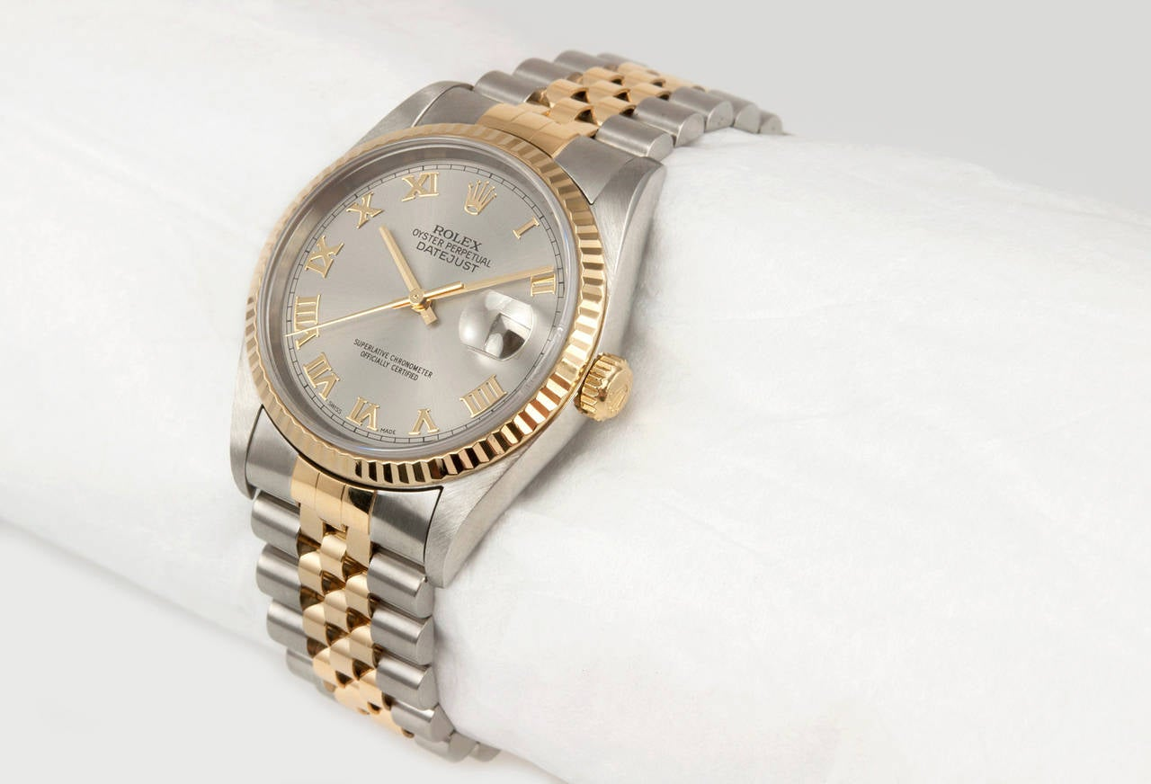 Rolex Yellow Gold Stainless Steel DateJust Wristwatch Ref 16233 2