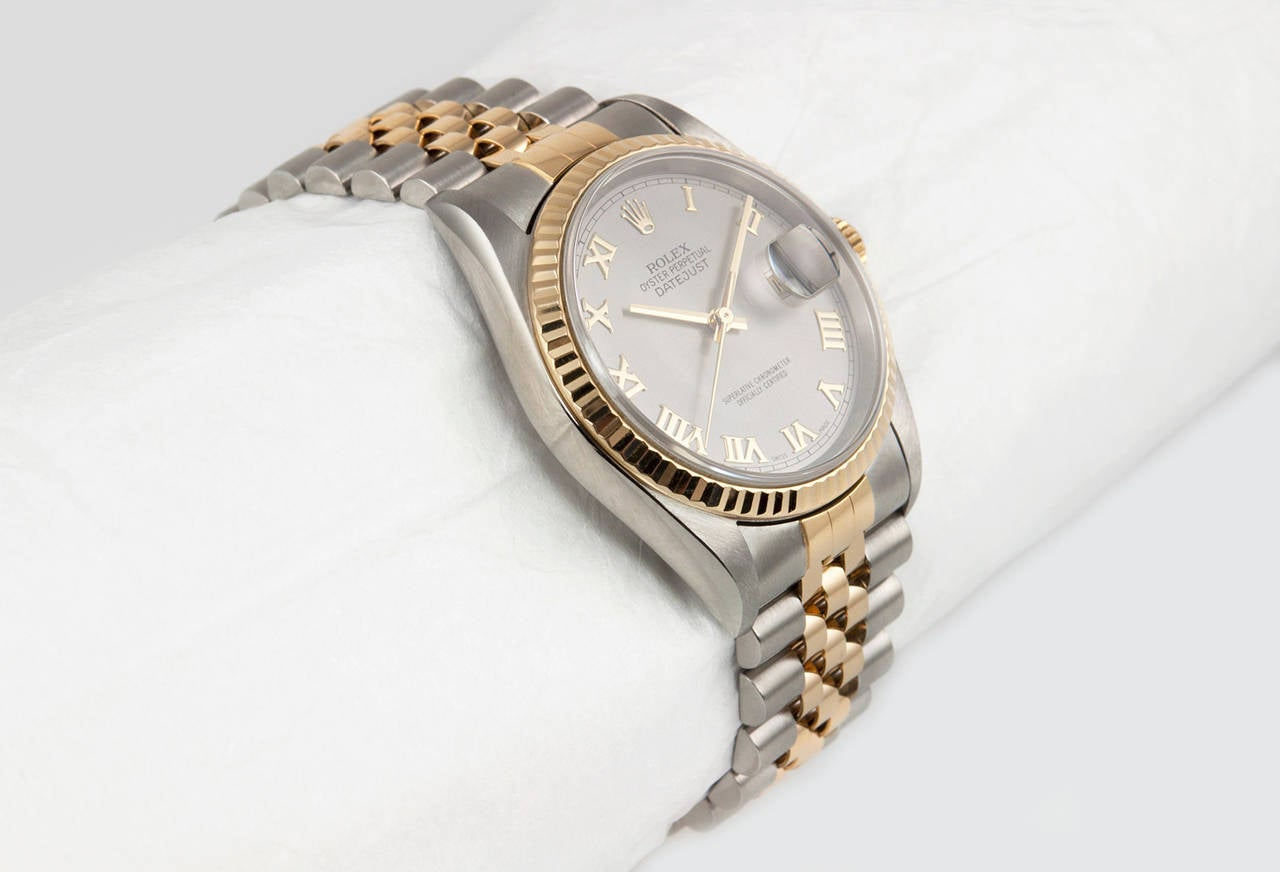 Rolex Yellow Gold Stainless Steel DateJust Wristwatch Ref 16233 4