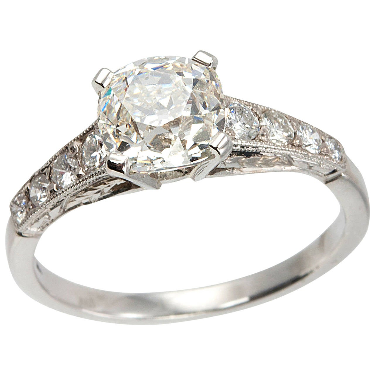 1 55 Carat Cushion Cut Diamond and Platinum Engagement Ring at 1stdibs