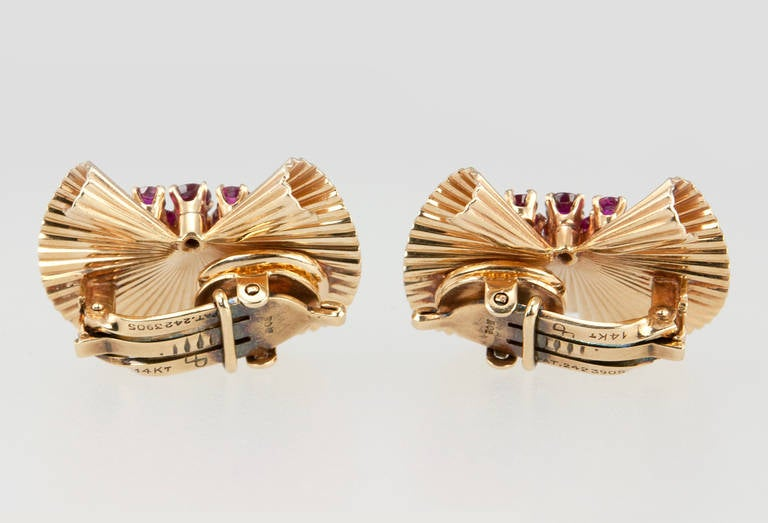 Tiffany & Co. Ruby Gold Fluted Clip Earrings For Sale 3