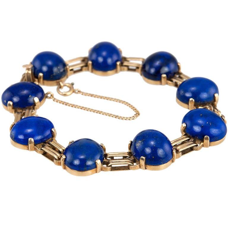 retro lapis lazuli link bracelet for sale at 1stdibs. Black Bedroom Furniture Sets. Home Design Ideas