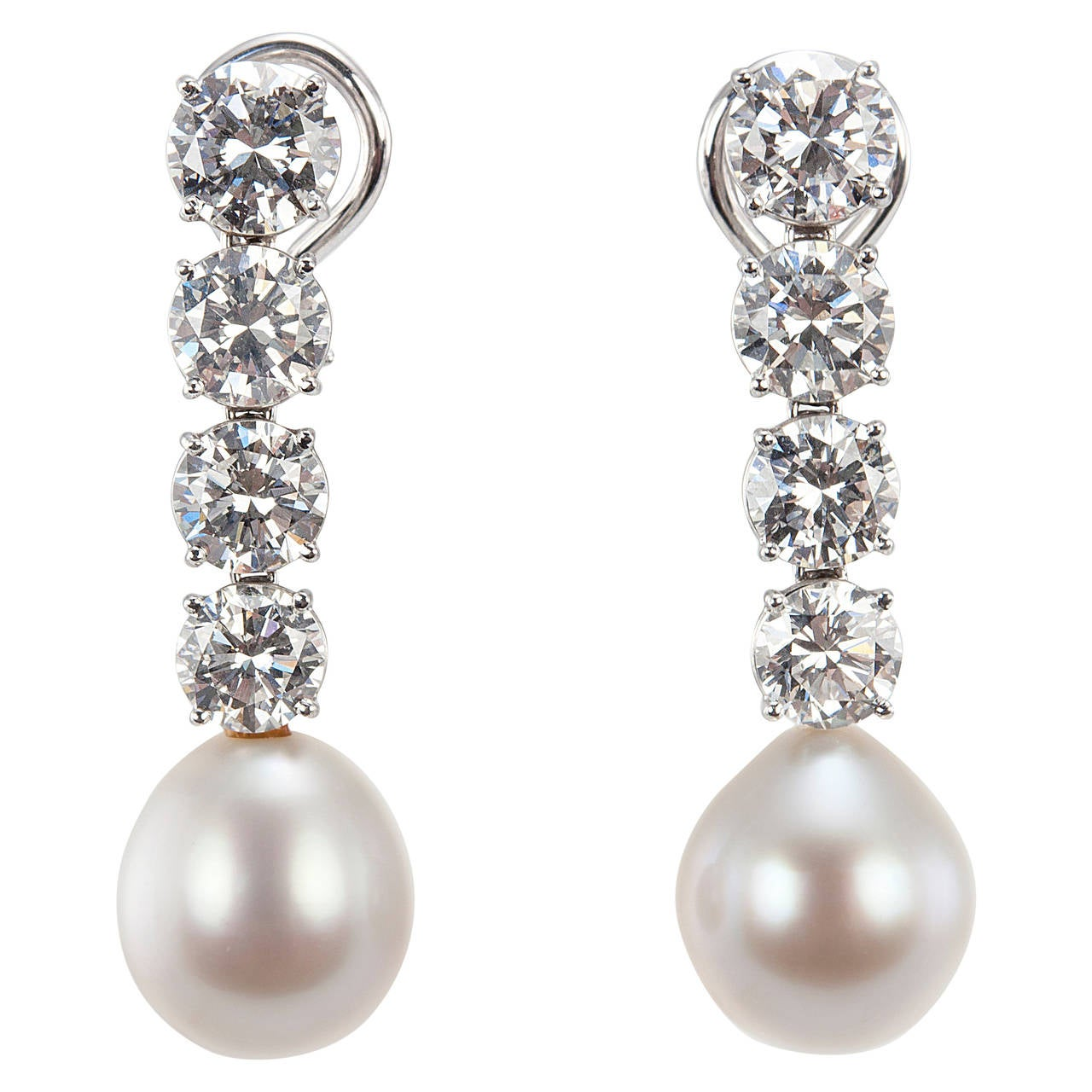 Bulgari Diamond And Pearl Dangle Earrings
