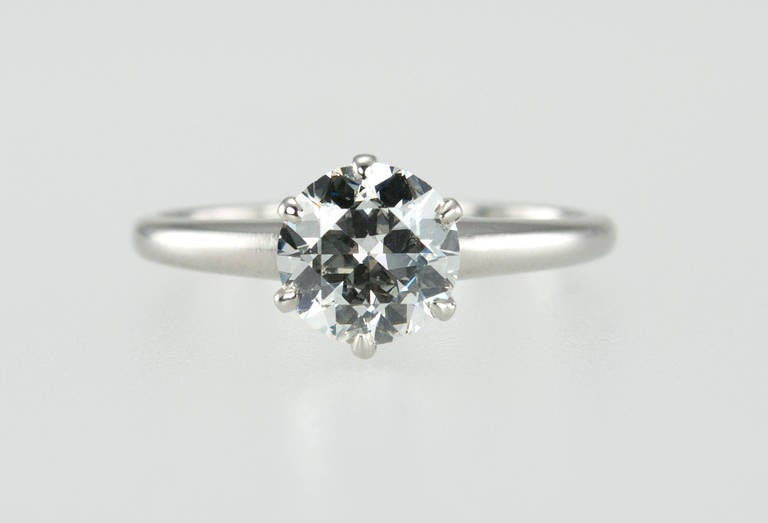 1.01 Carat Diamond Platinum Solitaire Ring 1930s In Excellent Condition For Sale In Los Angeles, CA