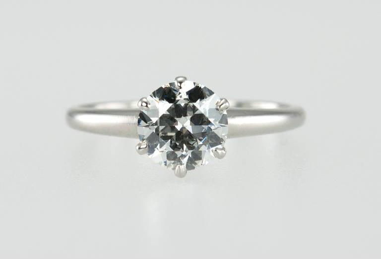 1.01 Carat Diamond Platinum Solitaire Ring 1930s 4