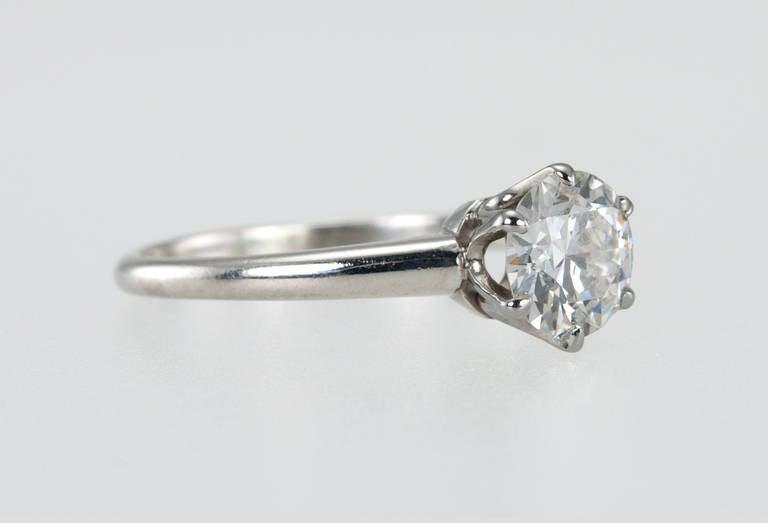 Old European Cut 1.01 Carat Diamond Platinum Solitaire Ring 1930s For Sale