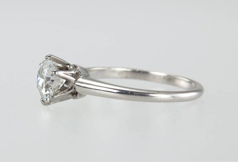 Women's 1.01 Carat Diamond Platinum Solitaire Ring 1930s For Sale