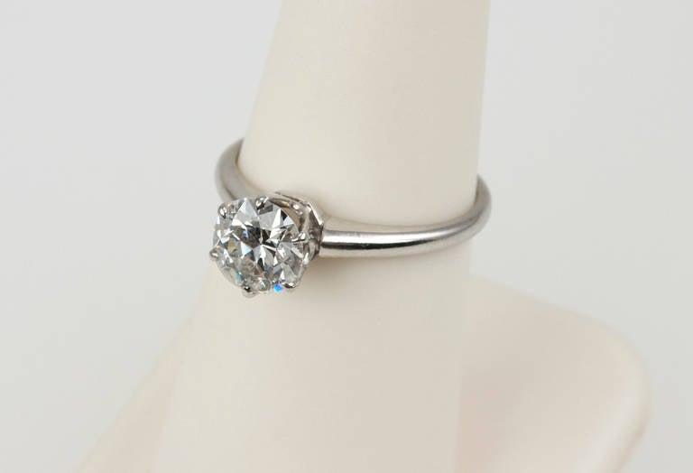 1.01 Carat Diamond Platinum Solitaire Ring 1930s For Sale 3