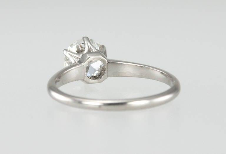 1.01 Carat Diamond Platinum Solitaire Ring 1930s For Sale 1