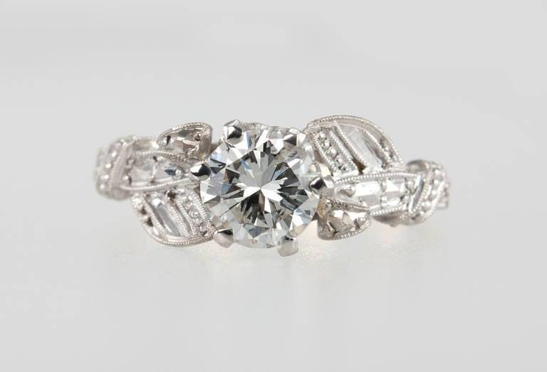 Women's Edwardian 0.84 Carat Diamond Gold Platinum Engagement Ring For Sale