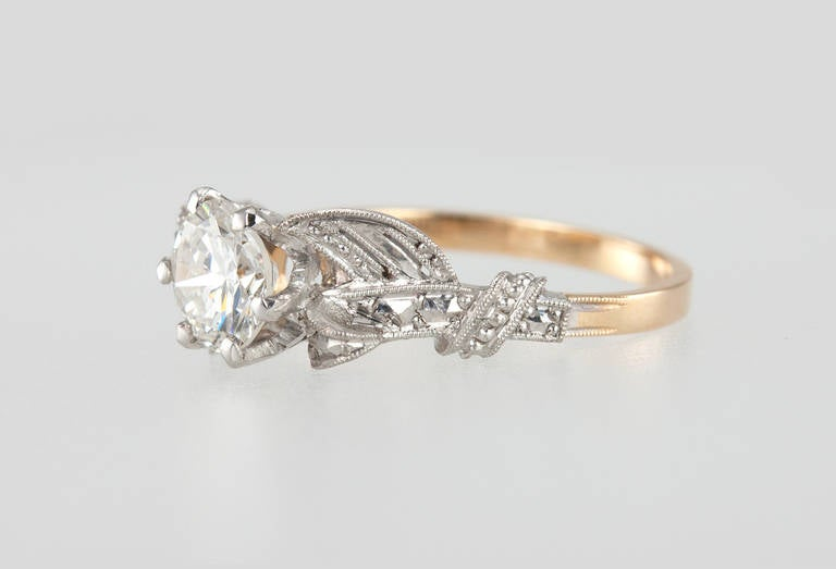 Edwardian 0.84 Carat Diamond Gold Platinum Engagement Ring In Excellent Condition For Sale In Los Angeles, CA